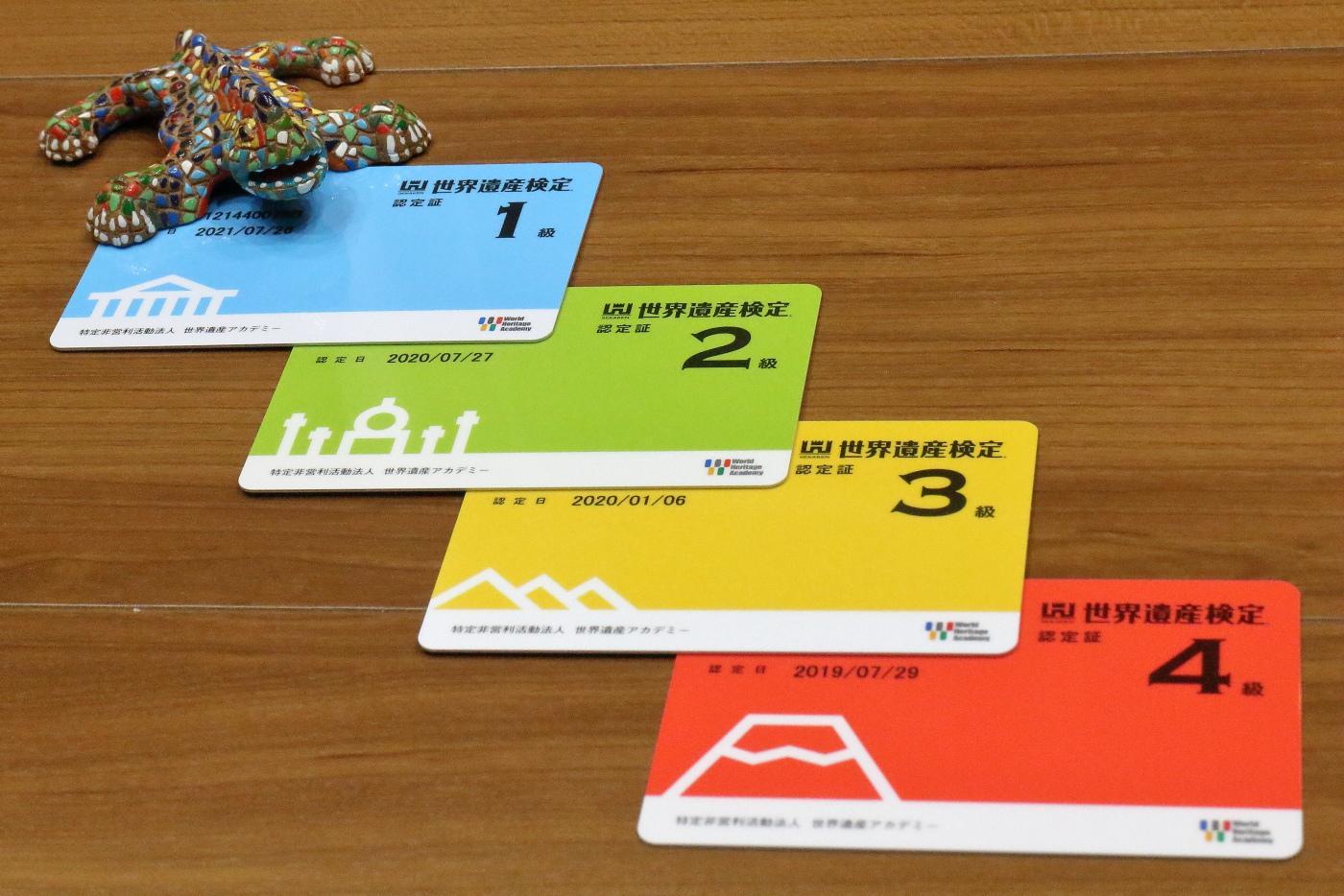世界遺産検定認定証カード(1級、2級、3級、4級)